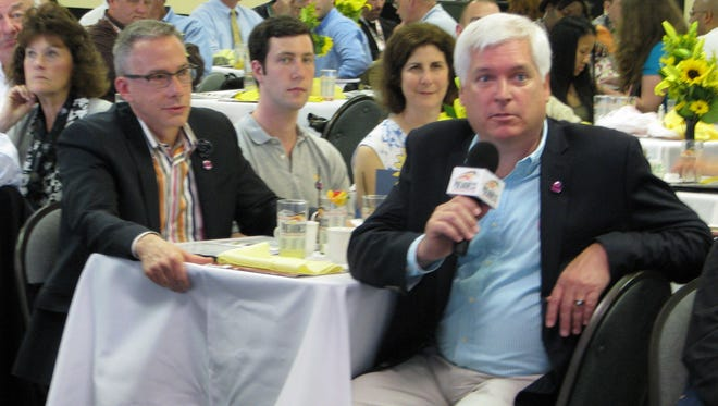 Steven Brandt (right) and Ric Boylan (left), co-owners of Preakness entry Kid Cruz, shared a table at the Alibi Breakfast at Pimlico. They also are partners in marriage.
