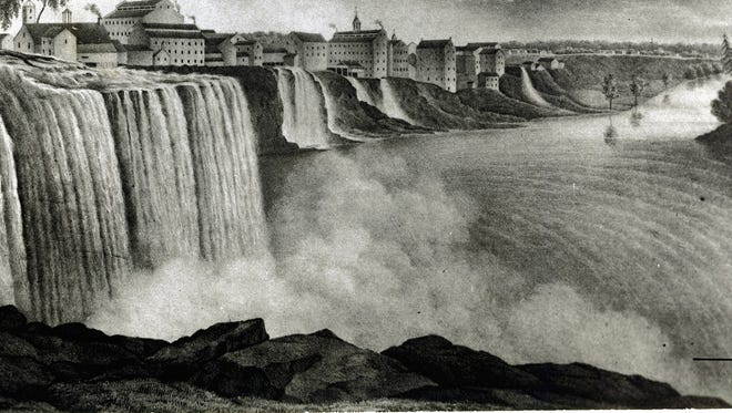 A drawing of the Genesee River  in the 1800s.