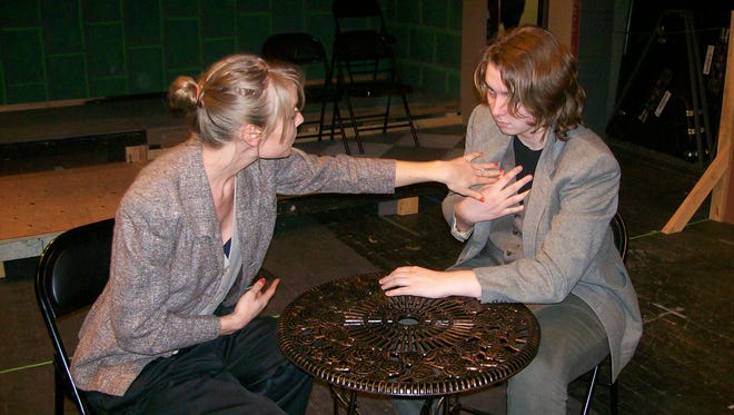 """Rienna Renae (at left, playing Jean) and Mikala Thompson, who plays Berenger in """"Rhinoceros."""""""