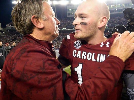 USC head football coach Steve Spurrier and quarterback
