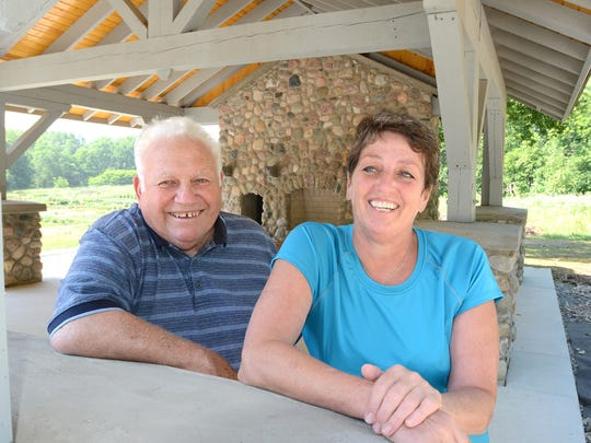 Northville Township Trustee Marv Gans and Treasurer Marjorie Banner collaborated on the construction effort to bring a new picnic structure to Thayer's Corner.