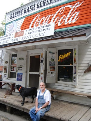 Rabbit Hash historian Don Clare outside the Rabbit Hash General Store. Don Clare created the bank account at Forcht Bank, where the bank will now match any donation made to the Rabbit Hash Historical Society until April 30.