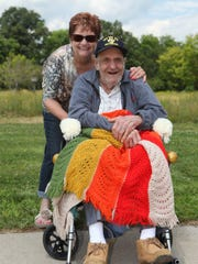 Judy Zurenda and her father Ed Shapley at the Oxford Veterans Home.