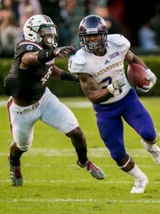 Western Carolina University senior running back Detrez Newsome, right, set a Southern Conference record with 2,343 all-purpose yards in 2016.