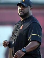Mar 7, 2017; Los Angeles, CA, USA; Southern California Trojans offensive coordinator Tee Martin reacts during spring practice at Howard Jones Field on Mar 7, 2017.