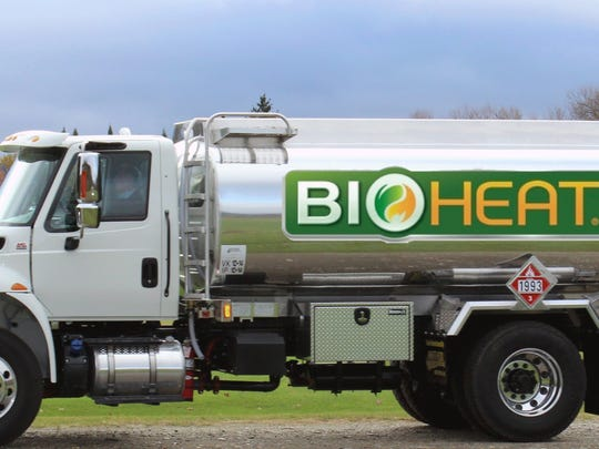 A newly painted BioHeat truck, photographed on a trial run in Jericho.