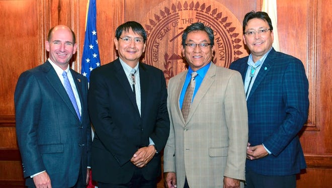 "Pictured from left to right are Dr. Joseph Shepard, WNMU President; Jonathan Nez, Navajo Nation Vice President; Russell Begaye, Navajo Nation President; and Dr. Charles ""Monty"" Roessel, Dine College President."