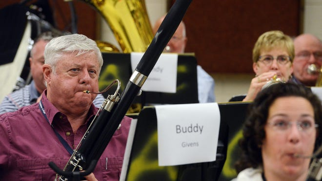 Buddy Givens of Aubrey, Texas, plays the bassoon during rehearsal Monday at the New Horizons band camp at Augustana College. Musicians from across the country are spending the week rehearsing and learning about music in preparation for a concert Saturday.