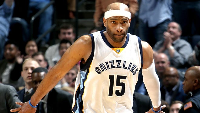 Memphis Grizzlies Vince Carter celebrates his three-point basket at the end of the first half against the Milwaukee Bucks at FedExForum.