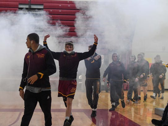 During a wrestling match between the Ankeny Hawks and