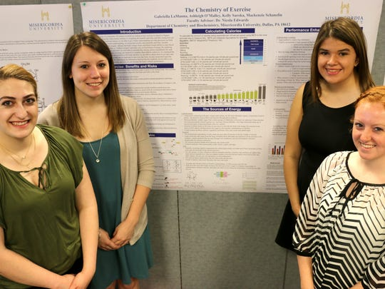 Misericordia University students, from left, Gabriella Lamanna of Hillsborough; Makenzie Schanzlin of Washington ; Ashleigh O'Malley of Jefferson and Kelly Saroka of Binghamton, New York presented their research, 'The Chemistry of Exercise,' at the annual Student Research Day.