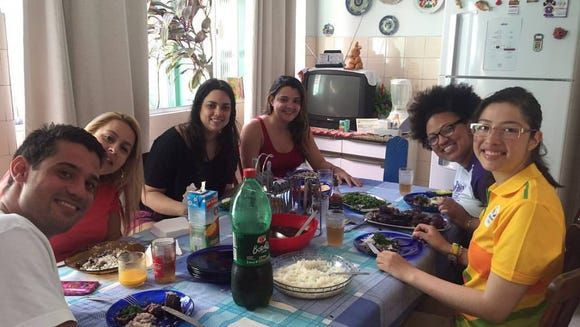 Rachel Gonsalves with a group of friends in Rio de Janeiro, Brazil. (Photo courtesy of Rachel Gonsalves)