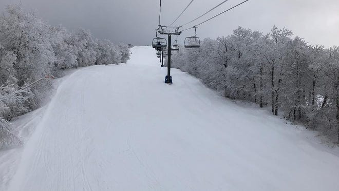 The view from the Bromley Sun Mountain (Vermont) Express Quad chair. Bromley is small by Vermont standards, with a vertical drop a little more than 1,300 feet, but there are eight chair lifts, including the high-speed quad, and one T-bar, serving 46 slopes and trails.