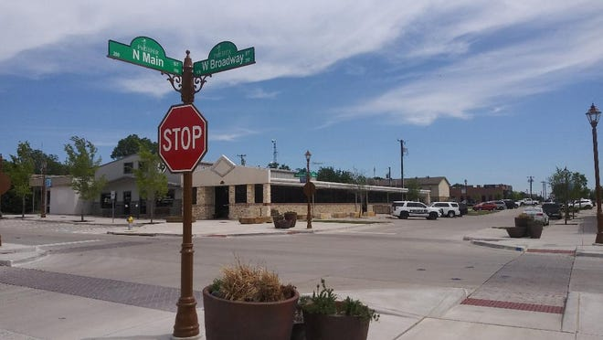 The intersection of Main and Broadway streets in downtown Prosper is shown in April. The Prosper Economic Development Corporation has begun the process of obtaining a Prosper Downtown Master Development Plan.