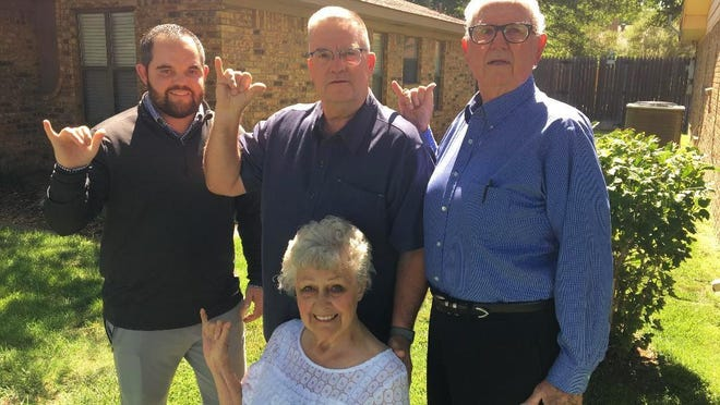 The living link to a family with five graduates under the five name changes of West Texas A&M that has spanned nearly 100 years: (top left), Austin Dunham (2012), Dr. Rick Dunham (1986), Richard Dunham (1960) and seated, Carol Dunham (1961).