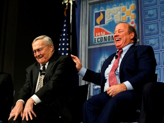 Detroit Mayor Mike Duggan and Oakland County Executive L. Brooks Patterson share a laugh at the Detroit Economic Club luncheon