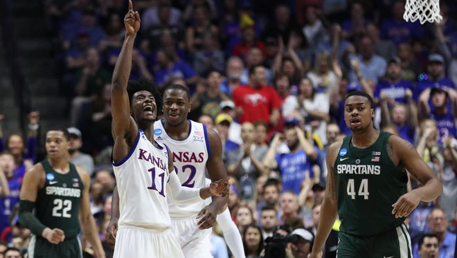 Kansas Jayhawks guard Josh Jackson (11) reacts during the second half against the Michigan State Spartans in the second round of the 2017 NCAA Tournament at BOK Center.