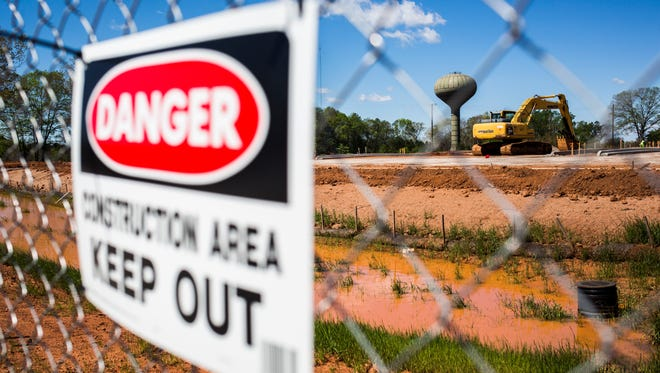 Work is done on land intended for a new steam plant on Friday, April 7, 2017, in Clemson.