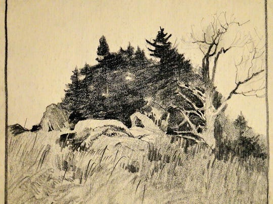 """""""Untitled (rocks & tree),"""" graphite (1965) by Roy M. Mason, part of """"Gerhard C.F. Miller: The Artist and His Mentor"""" at the Miller Art Museum."""