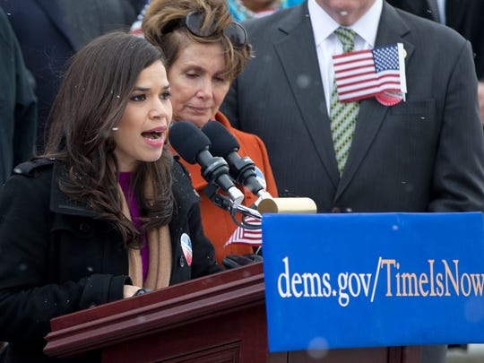 Actress America Ferrera, speaks during a news conference with House Democrats and immigration leaders on the steps of the Capitol in Washington on Wednesday, March 26, 2014, to announce a DemandAVote discharge petition.