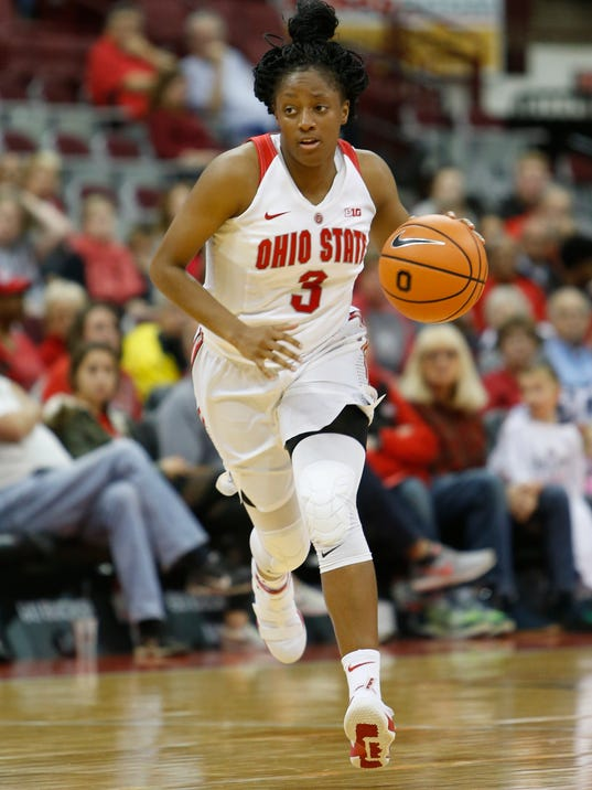 FILE - In this Nov. 5, 2017, file photo, Ohio State's Kelsey Mitchell plays against Urbana during an NCAA college basketball game, in Columbus, Ohio. With star Kelsey Mitchell playing out her eligibility and other key players graduating,  the Ohio State Buckeyes know this is there last best chance for awhile to get close to a national championship. (AP Photo/Jay LaPrete, File)