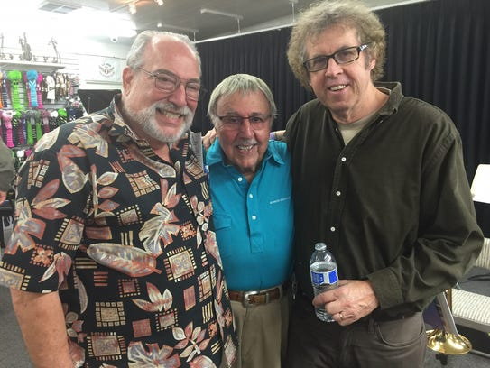 Author Bob Teitelbaum (left) and columnist Bruce Fessier (right) congratulated drummer Frank Capp after a 2016 performance at Pete Carlson's Golf & Tennis in Palm Desert.