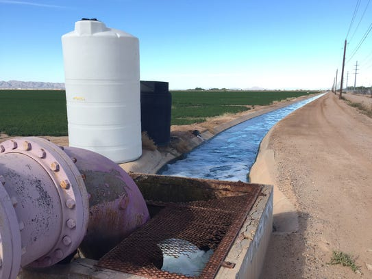 Reclaimed water flows from a Chandler treatment plant