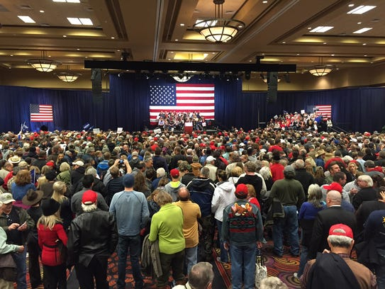 A crowd of about 2,000 awaits Donald Trump at the Reno