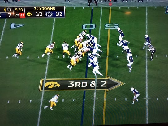A screen shot of Iowa's third-and-2 play in the first