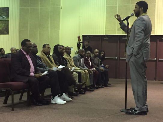 Pastor Nelson Pierce Jr., of Black Church United, speaks