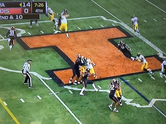 A look at the spacing that a fake jet sweep to Iowa's