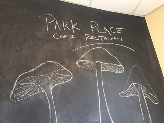 Chalkboard paint transforms a wall in Park  Place Cafe