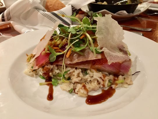 The sashimi tuna dish.