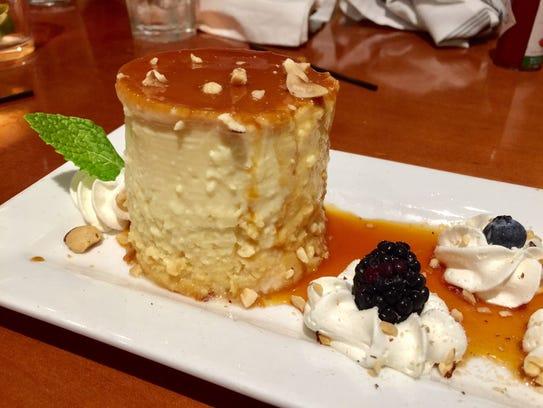 A super-generous flan dessert.