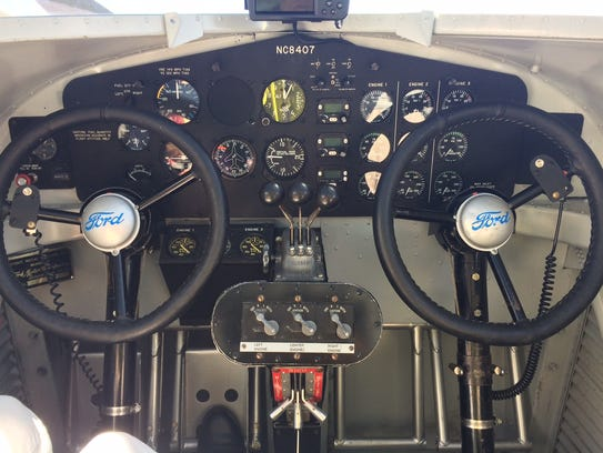 The cockpit of an iconic 1929 Ford Tri-Motor at Naples