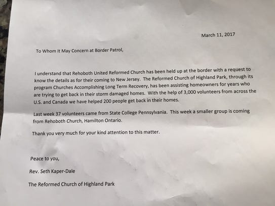 One of two letters that Pastor Seth Kaper-Dale sent