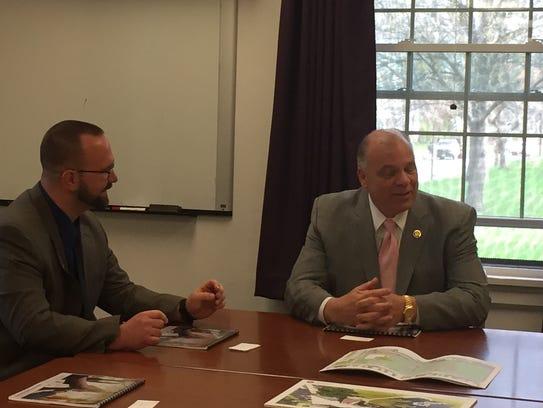 State Senate President Steve Sweeney (right) met with