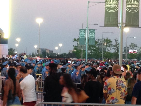 New Jersey State Troopers face of with concert fans