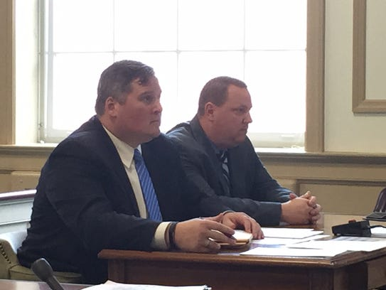 From left, defense attorney Sean O'Connor with defendant