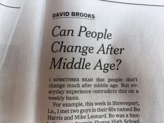 David Brooks column from The New York Times, Friday,