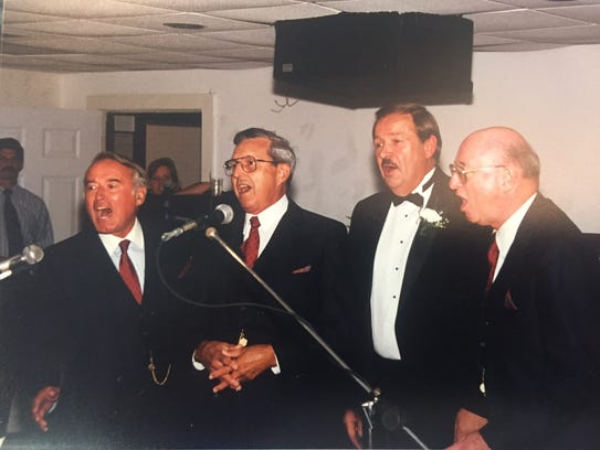 Barbership music fan Jack Lynn, third from left, sang