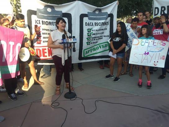 Reyna Montoya, a DACA recipient, speaks outside of