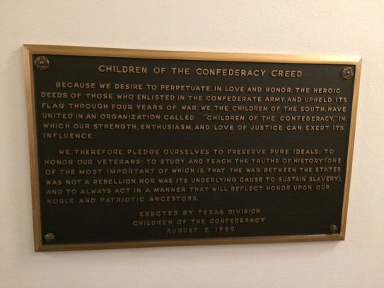 The Children of the Confederacy plaque in the Texas