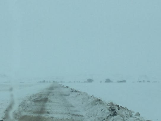 Roads in Hill County were not safe to travel Monday