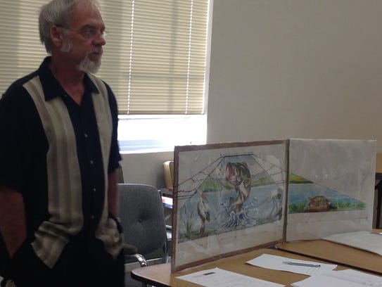 Ralph Stearns discusses his idea for a mural on the