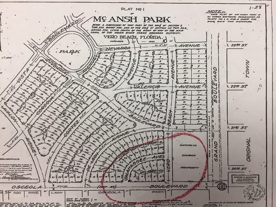 This 1928 plat of McAnsh Park shows the proximity of