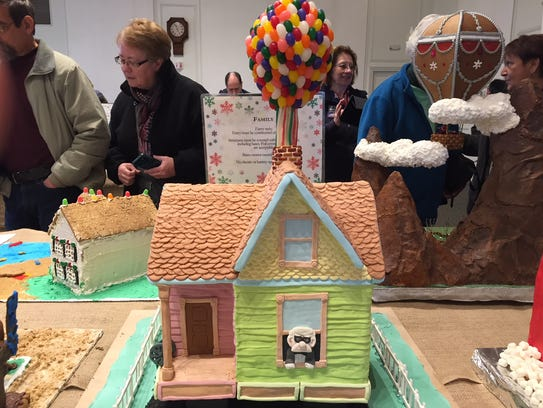 One of the hundreds of gingerbread houses on display
