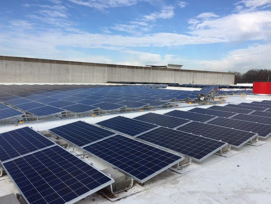 Some of the 2,300 solar panels installed on Oxmoor