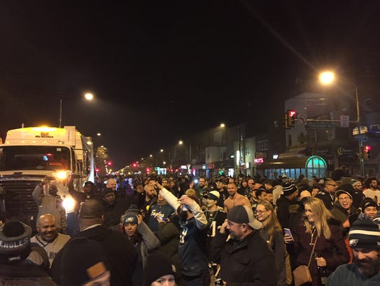 Eagles fans pour out into the streets to celebrate