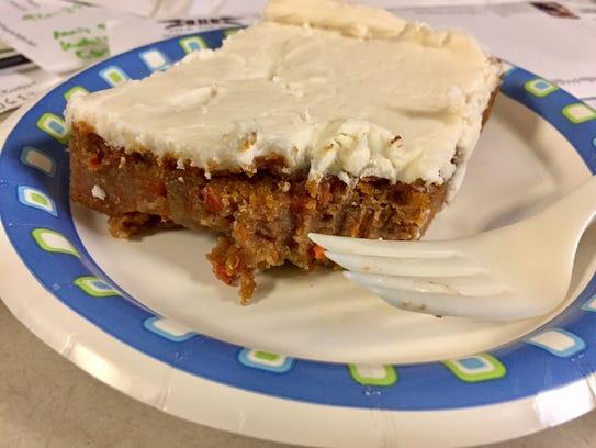 Paradigm's carrot cake to-go on a messy Sheboygan Press